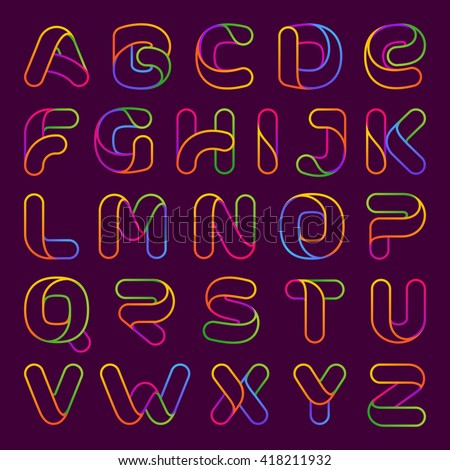 Colorful one line neon letters set. Font style, vector design template elements for your application or corporate identity. - stock vector