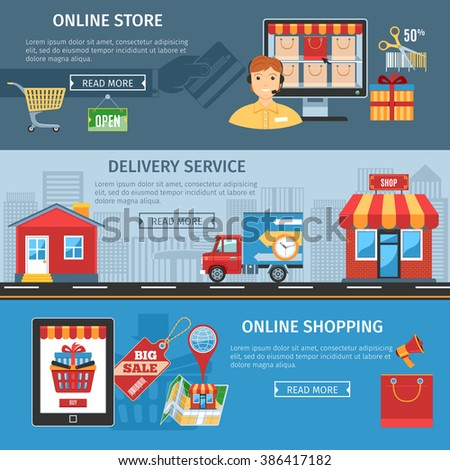 Colorful Online Shopping And Delivery Flat Banners Set. Online Shopping Icons Vector set. Online Shopping Icons Picture set. Online Shopping Icons Image set. Online Shopping Isolated Icons set.  - stock vector