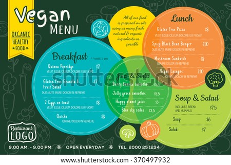 colorful organic food vegan restaurant menu board or placemat vector template - stock vector