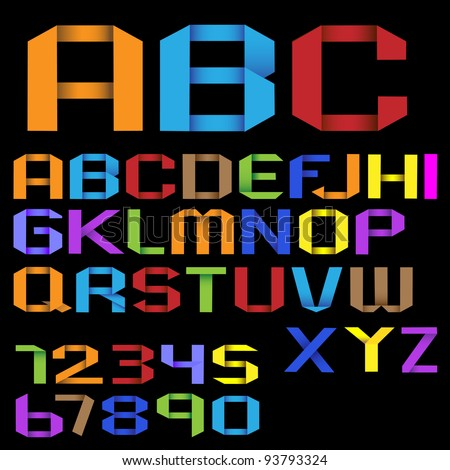 Colorful Origami Alphabet with Numbers.Vector EPS10 - stock vector