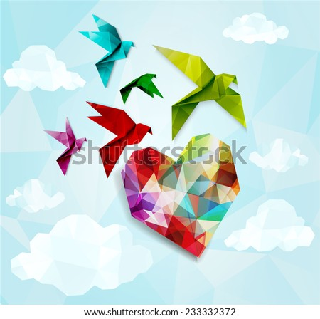 Colorful origami birds with heart background. Vector illustration, EPS10 - stock vector