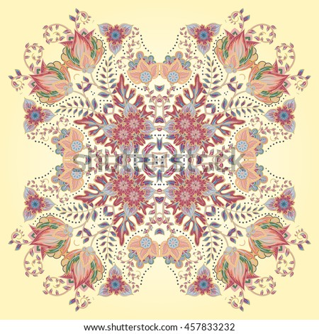 Colorful ornamental floral paisley shawl, bandanna, pillow, scarf. Square pattern. Detailed floral scarf design. Pastel red blue green brown eastern ornament on beige background. Batik - stock vector