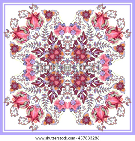 Colorful ornamental floral paisley shawl, bandanna, pillow, scarf. Square pattern. Detailed floral scarf design. Blue pink eastern ornament on white background. Batik - stock vector