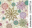 Colorful ornate seamless snowflake pattern - stock vector