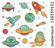 Colorful outer space stickers collection - stock vector