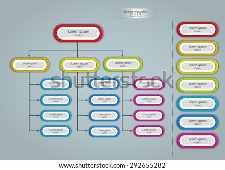 Colorful Oval Shape Organizational Chart Infographic, Business Structure Concept, Business Flowchart Work Process, Vector Illustration. - stock vector