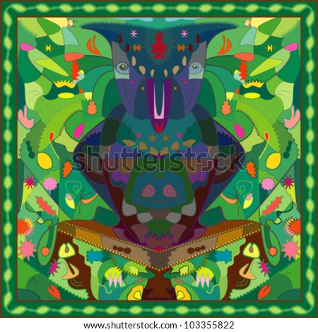 Colorful owl on a tropical background with leaves, fruits and insects, sitting on a branch - stock vector