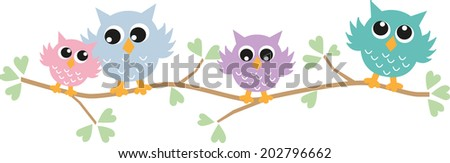 colorful owls header or banner - stock vector