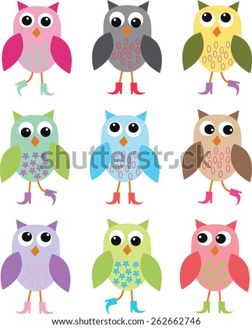 colorful owls with shoes background - stock vector