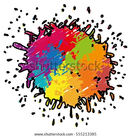 Colorful Paint Splash Over White Background Stock Vector 555213385
