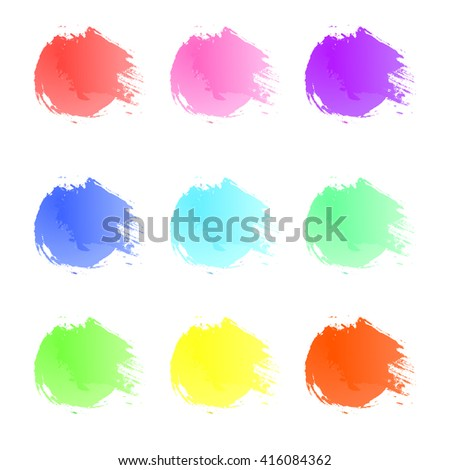 Colorful paint splat. 9 colors. Paint splashes set for design use. Abstract vector illustration.