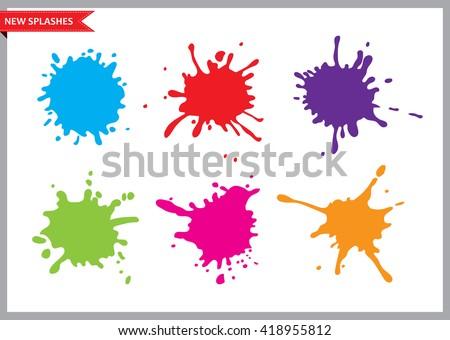 Colorful paint splatters.Paint splashes set.Vector illustration. - stock vector