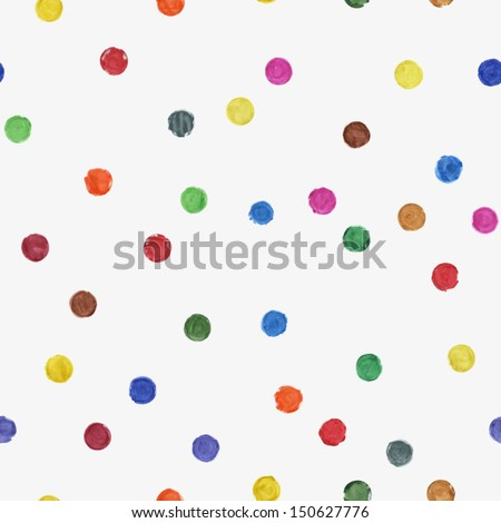Colorful paint watercolor seamless pattern. Abstract grunge vector seamless pattern. Watercolor polka dot. Bright splashes on beige background - stock vector