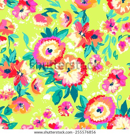 Colorful painted garden flowers ~ seamless background - stock vector