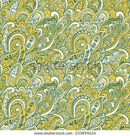 colorful paisley seamless pattern - stock vector
