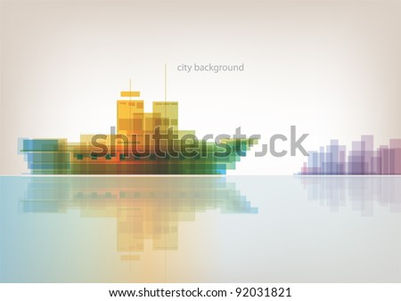 Colorful panorama - abstract background with sea ship and city - stock vector
