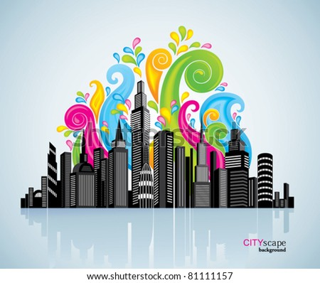 Colorful panorama city. - stock vector