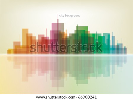 Colorful panorama city vector background - stock vector