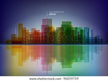 Colorful panorama city vector background - night version - stock vector