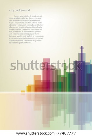 Colorful panorama city vector vertical background - stock vector