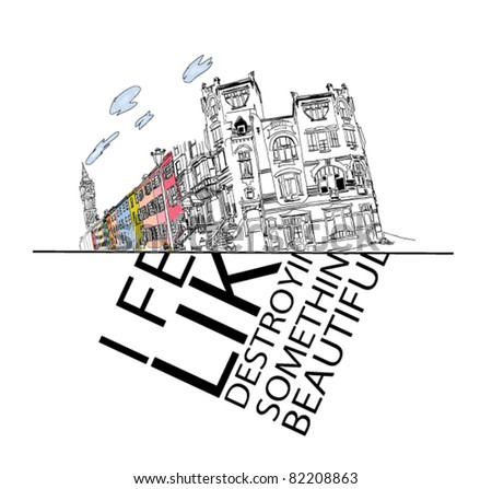 Colorful panorama city vector with  slogan - stock vector