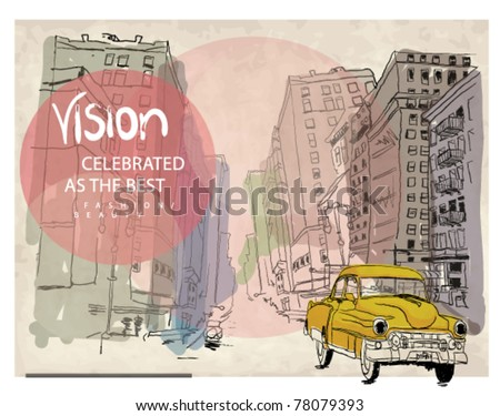 Colorful panorama city vector  with taxi background - stock vector