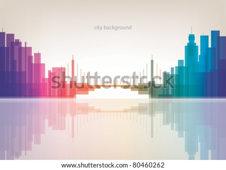 Colorful panorama city with bridge vector background - stock vector