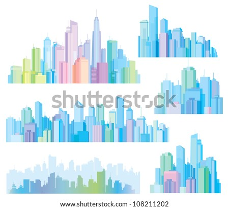 Colorful panorama of cities. - stock vector