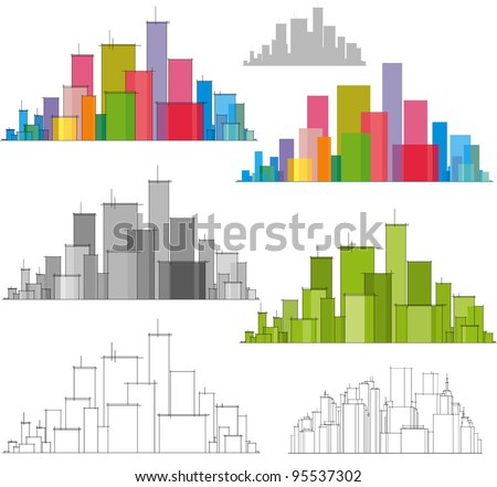 Colorful panorama of city - stock vector