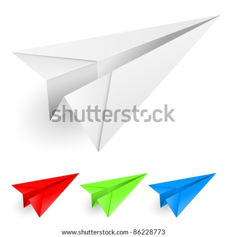 Colorful paper airplanes. Illustration on white background for design.