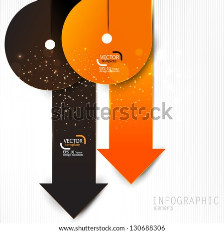 Colorful paper arrows on white background. Vector template for infographics - stock vector