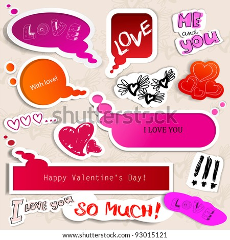 Colorful paper bubble for speech. Valentines day. - stock vector