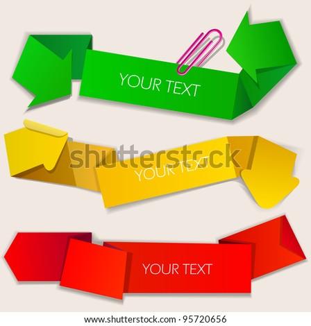 Colorful paper bubbles for speech. Arrow - stock vector