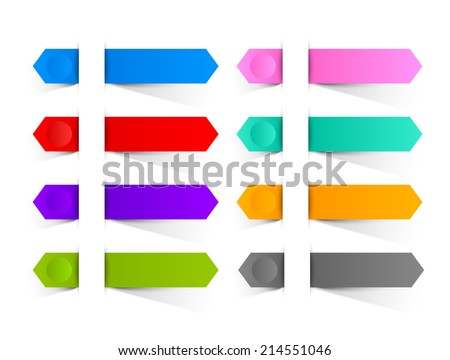 Colorful paper buttons or ribbons inserted into another piece of paper - stock vector