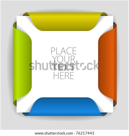 Colorful paper card holder with place for yout content - stock vector
