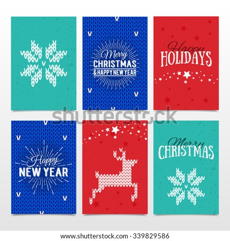 Colorful paper cards with Happy Holidays, Merry Christmas and Happy New Year lettering. Christmas calligraphy on isolated background. Vector banners. Xmas postcards. Knitted norwegian elements  - stock vector