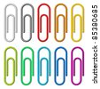 Colorful paper clips set isolated on white background. - stock photo