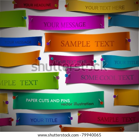 Colorful Paper Cuts with Pins, no clipping mask used, easy to edit. Works when papers are on colored background. EPS 10. - stock vector