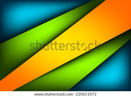 colorful paper layer overlap on blue green orange background - stock vector