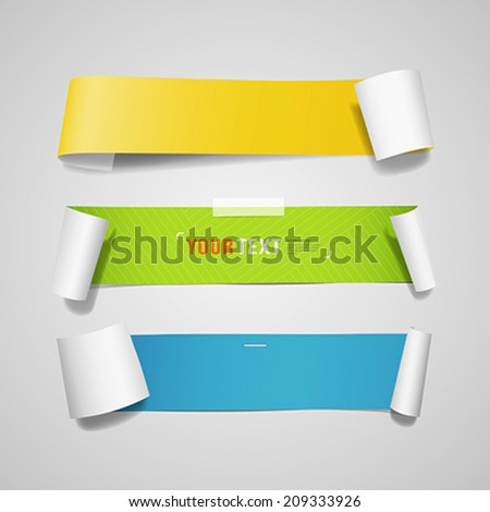 Colorful paper roll long collections design background, vector illustration - stock vector