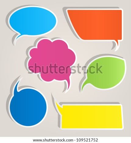 Colorful paper speech bubbles - stock vector
