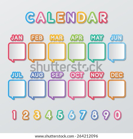 colorful paper speech bubbles calendar with 0-9 numbers. vector.  - stock vector
