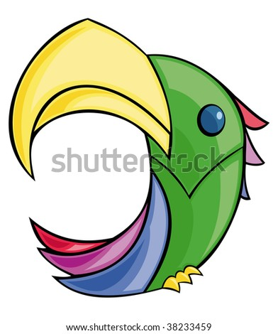 Colorful parrot logotype on a white background - stock vector