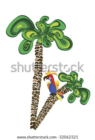 colorful parrot sitting on a palm tree - stock vector