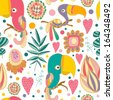 colorful parrots in jungle. funny seamless pattern - ideal for children room or book.  - stock vector