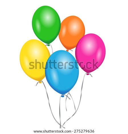 Colorful party and birthday floating balloons for anniversary and holiday concept. Vector EPS 10 illustration isolated on white background.
