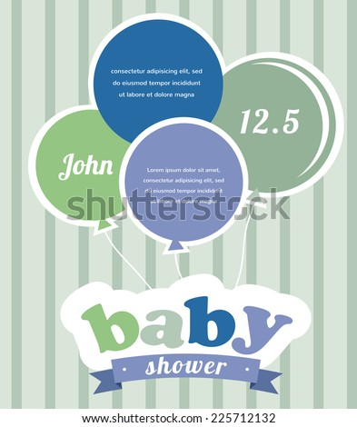 Colorful party balloons celebrating a newborn baby boy   Shower invitation - stock vector