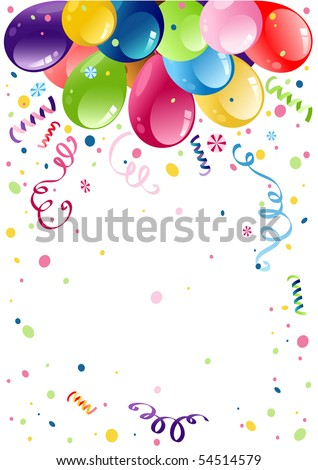 Colorful party balloons with space for text - stock vector