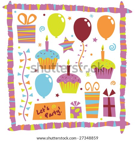 colorful party elements, let's party! - stock vector