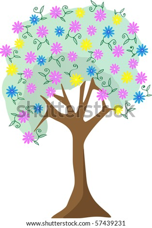 Colorful pastel flower tree vector illustration  editable vector illustration - stock vector